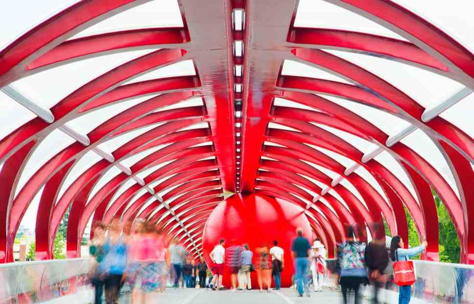 RedBall at Peace Bridge Calgary by Santiago Calatrava