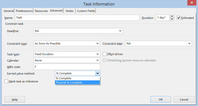 Task information Earned value method option