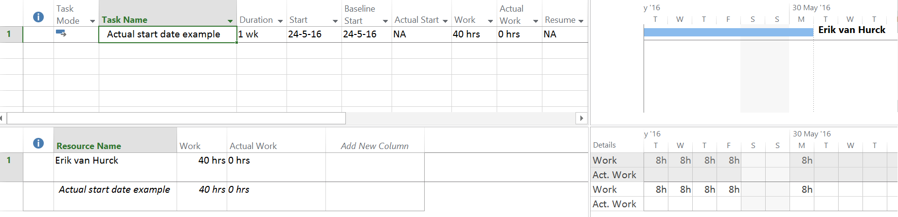 about start dates in microsoft project