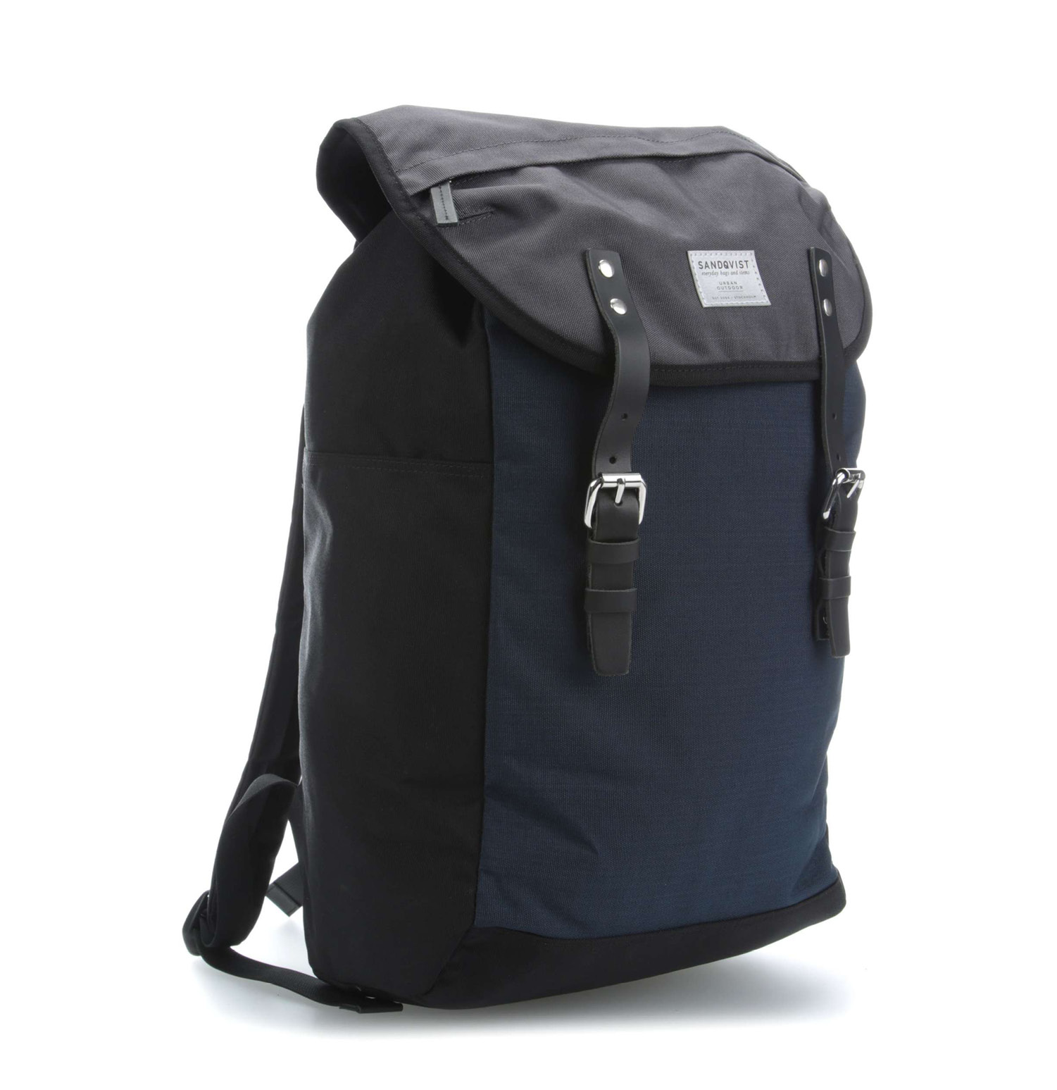 Sandqvist Hans Black Blue and Grey Backpack
