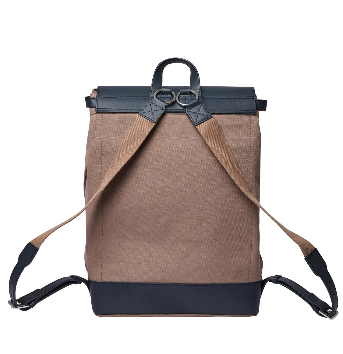 Sandqvist Hege Earth Brown with Navy Leather Backpack