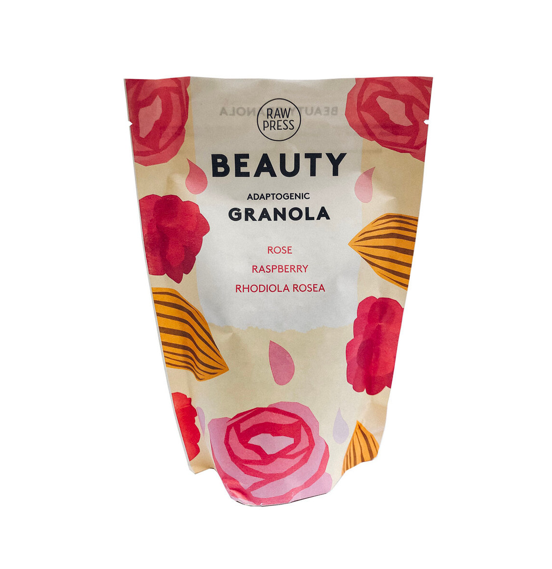 Raw Press Adaptogenic Beauty Granola Rose Raspberry Rhodiola Rosea
