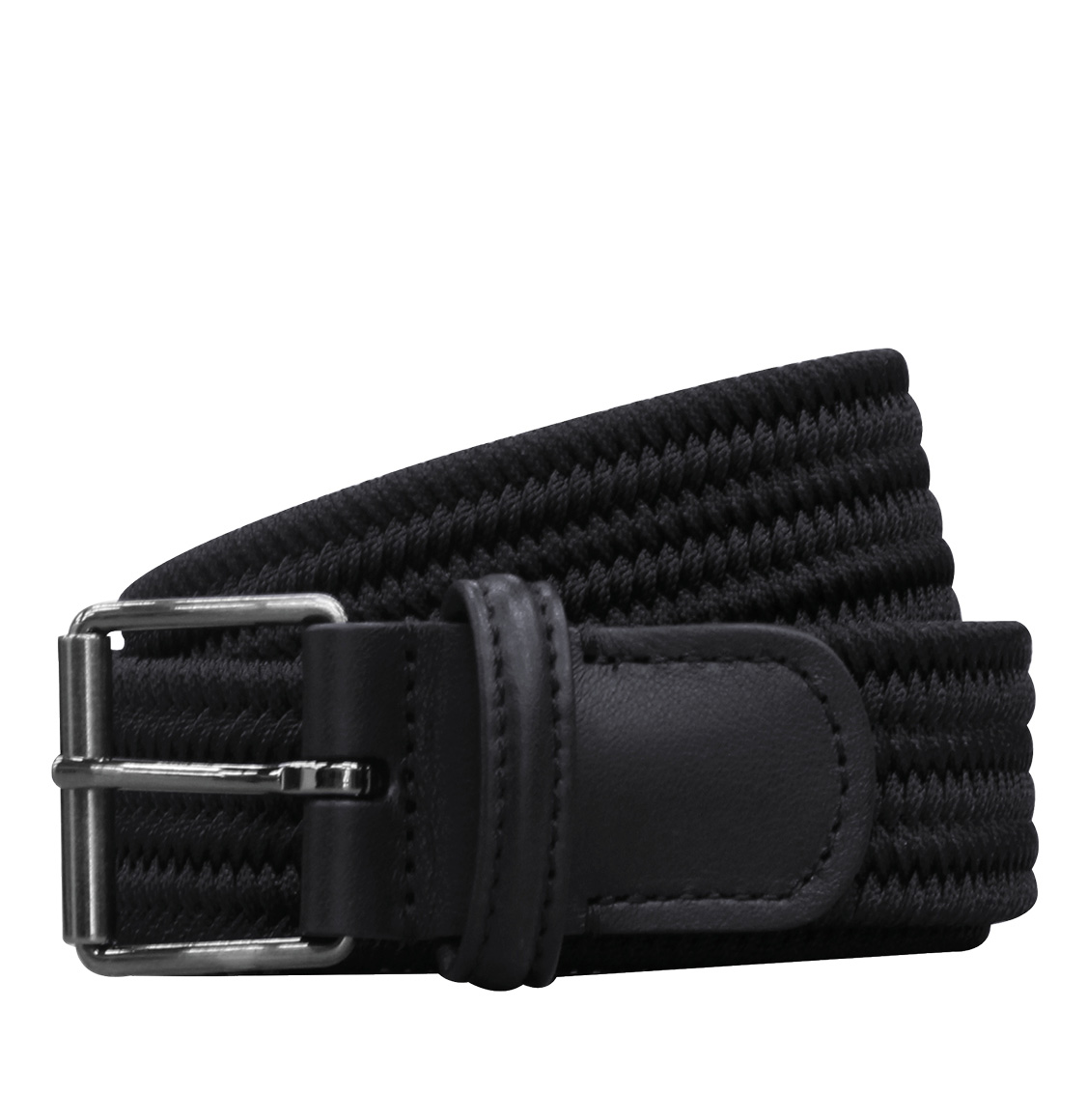 Anderson's Leather-Trimmed Woven Slim Belt Navy