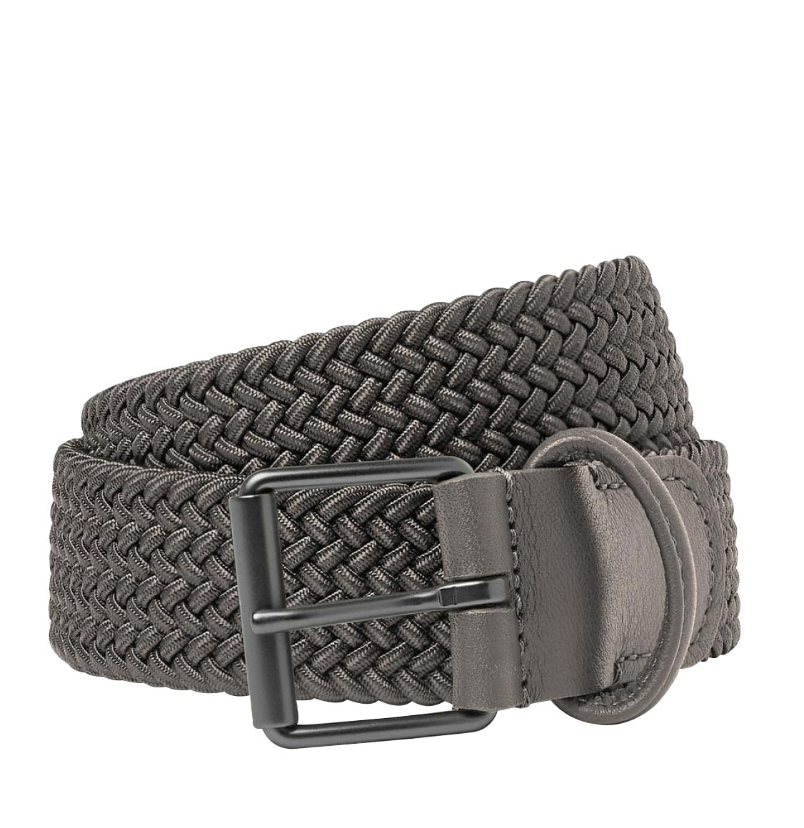 Anderson's Leather-Trimmed Woven Belt Grey