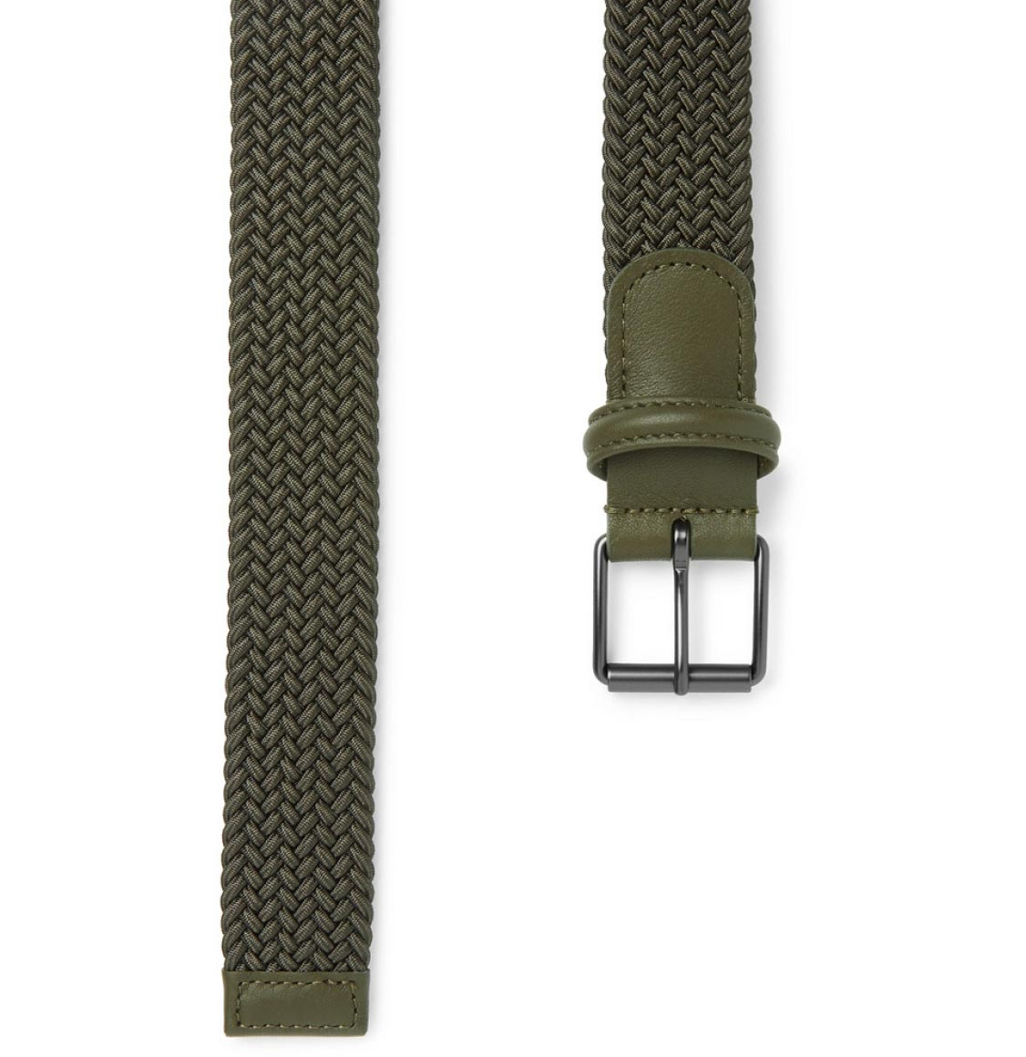 Anderson's Leather-Trimmed Woven Belt Green
