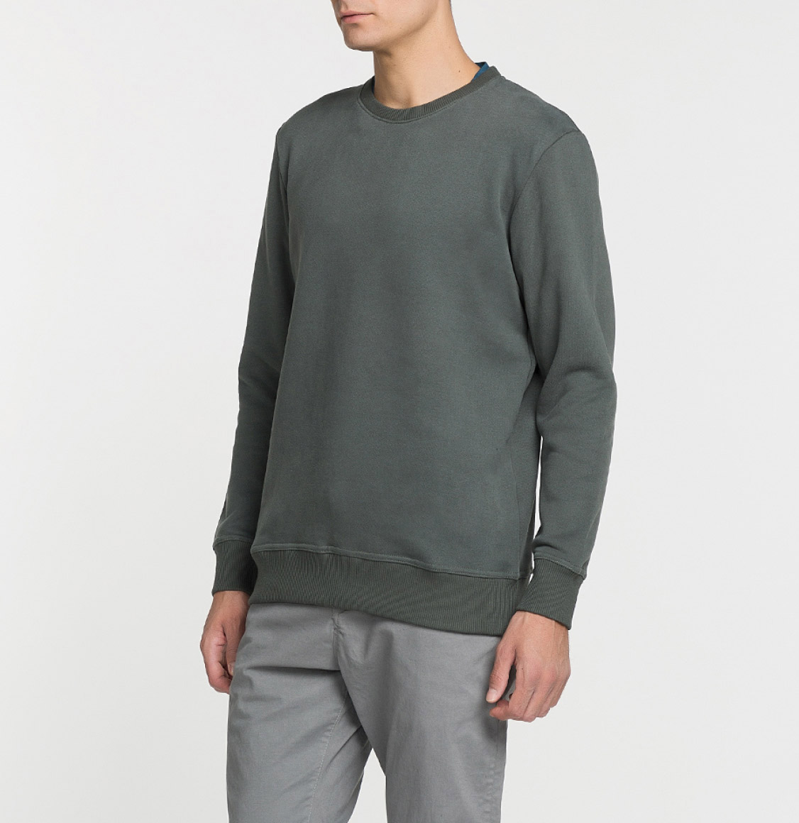 Crew Neck Sweatshirt Military Khaki
