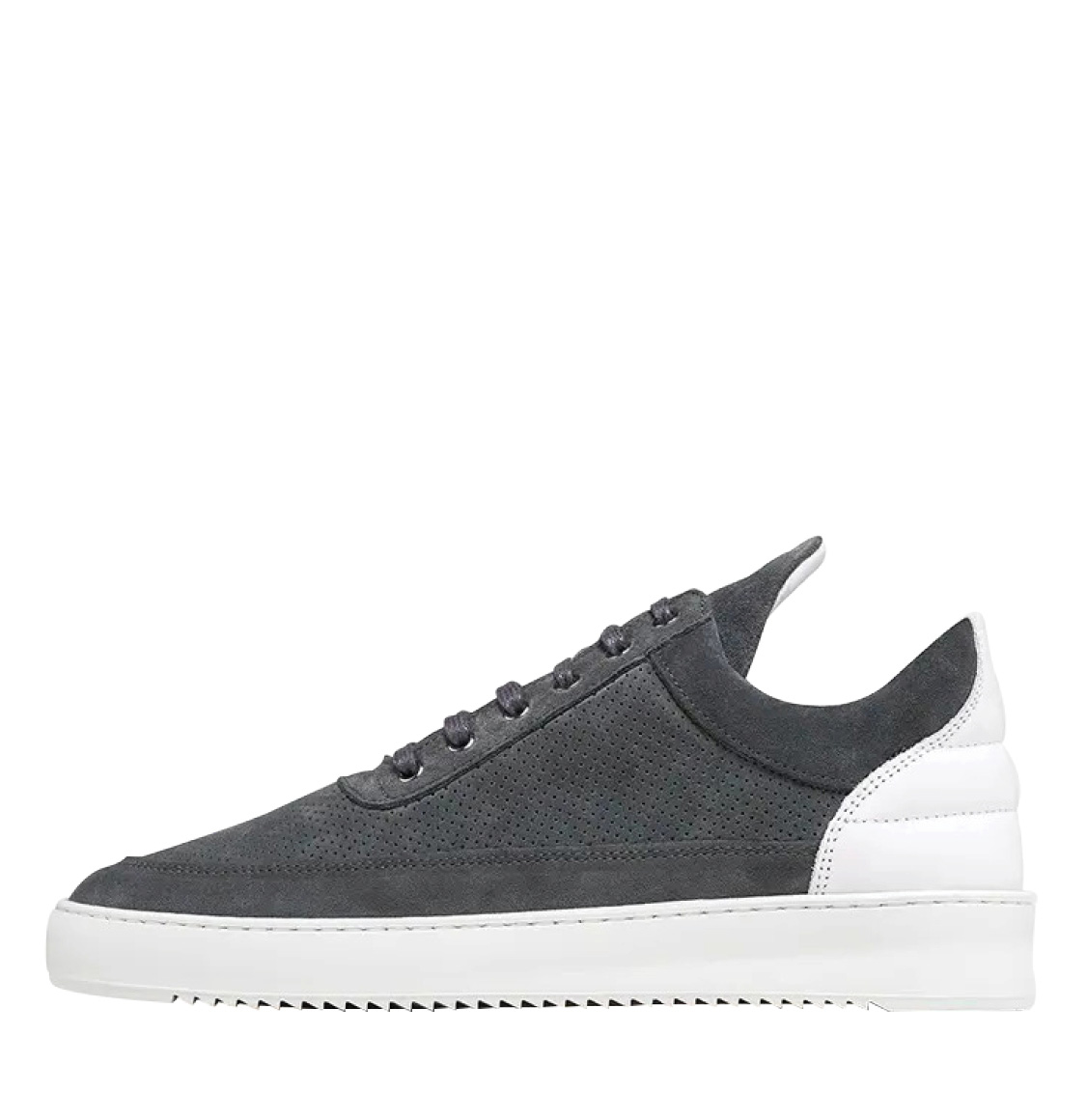 Filling Pieces Low Top Ripple Perforated Dark Grey
