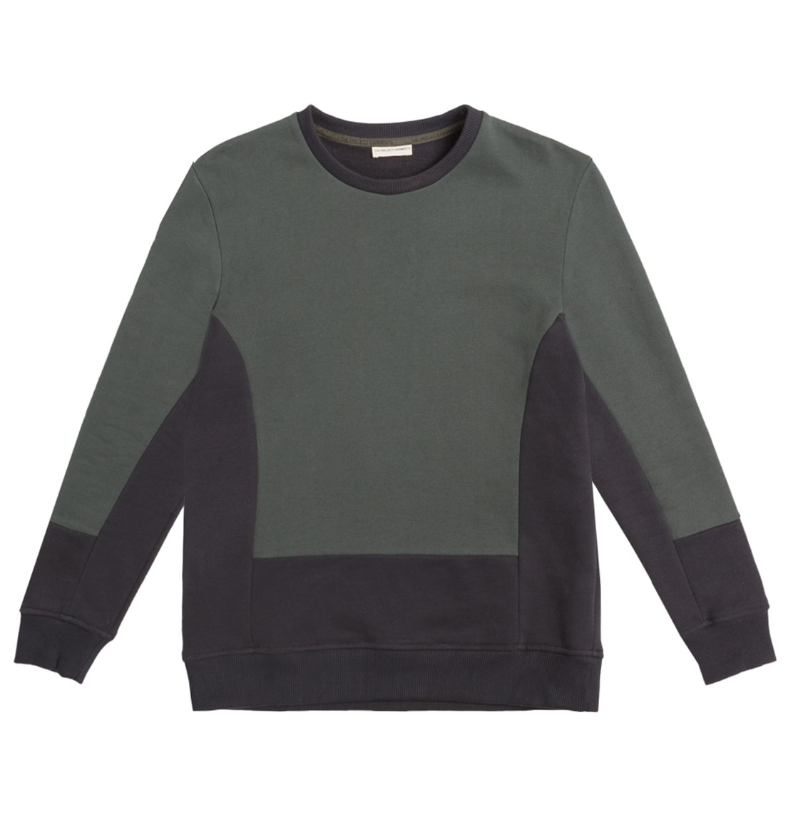 Horizontal Color Block Crew Neck Sweatshirt Khaki