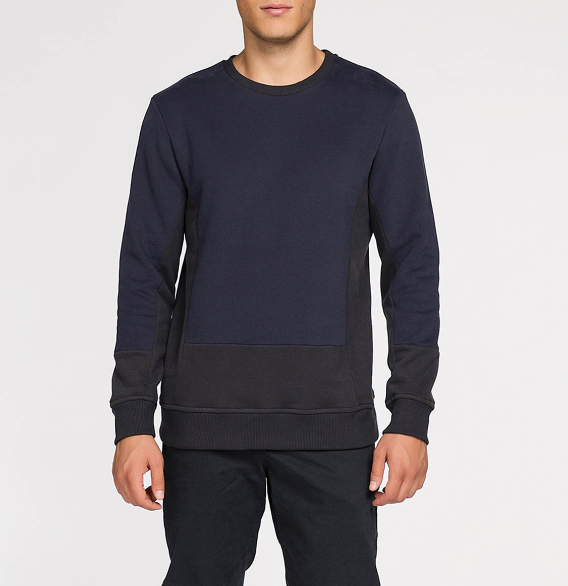 Horizontal Color Block Crew Neck Sweatshirt Navy Blue