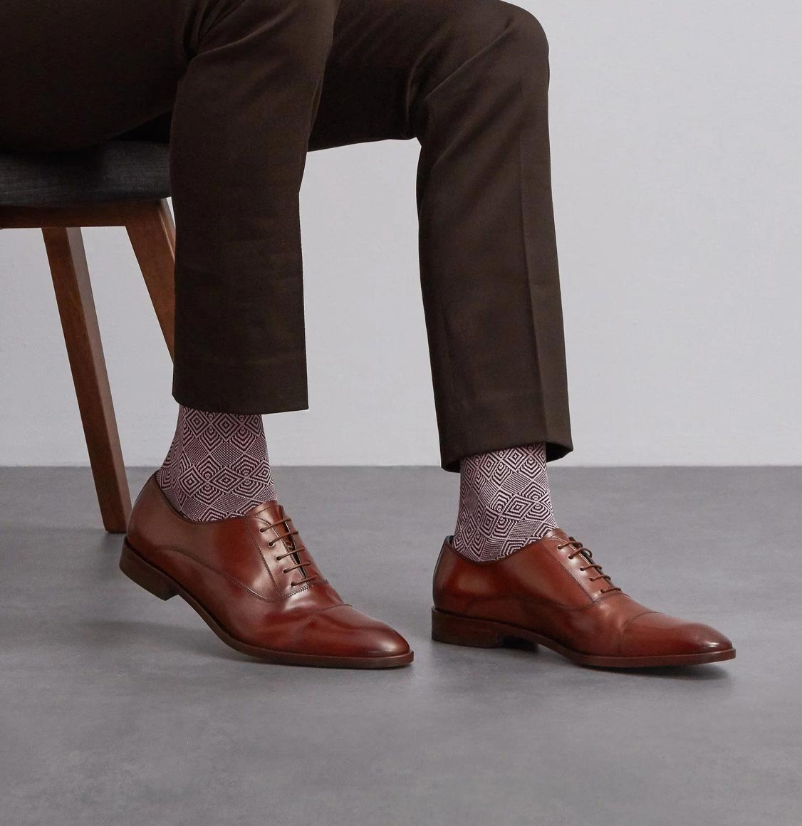 London Sock Co Jacquard Bordeaux