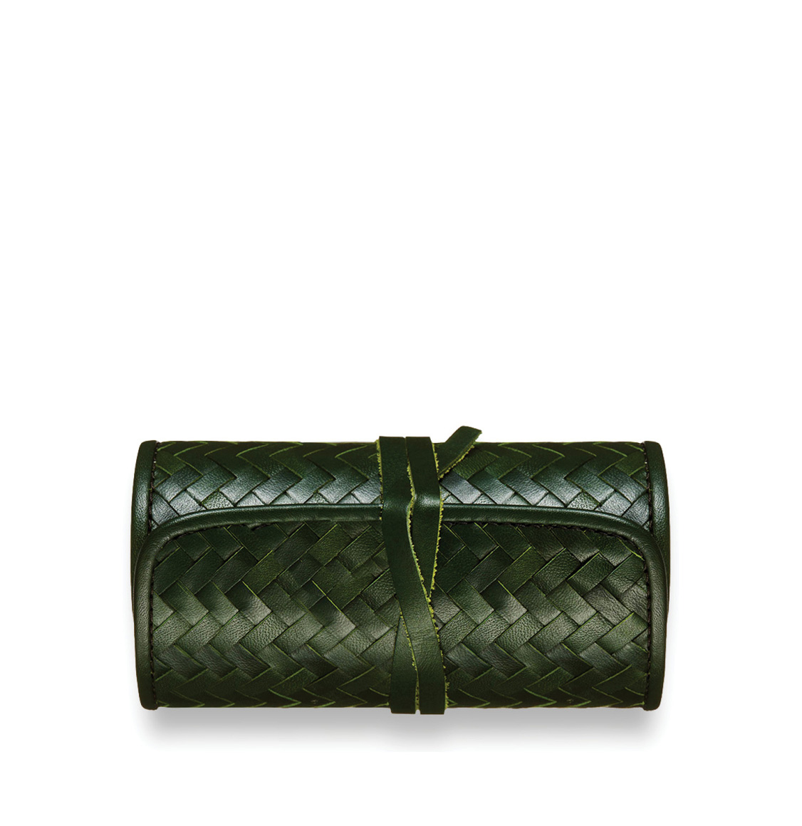 The Mantidy Herringbone Cheese and Wine Roll Green Leather
