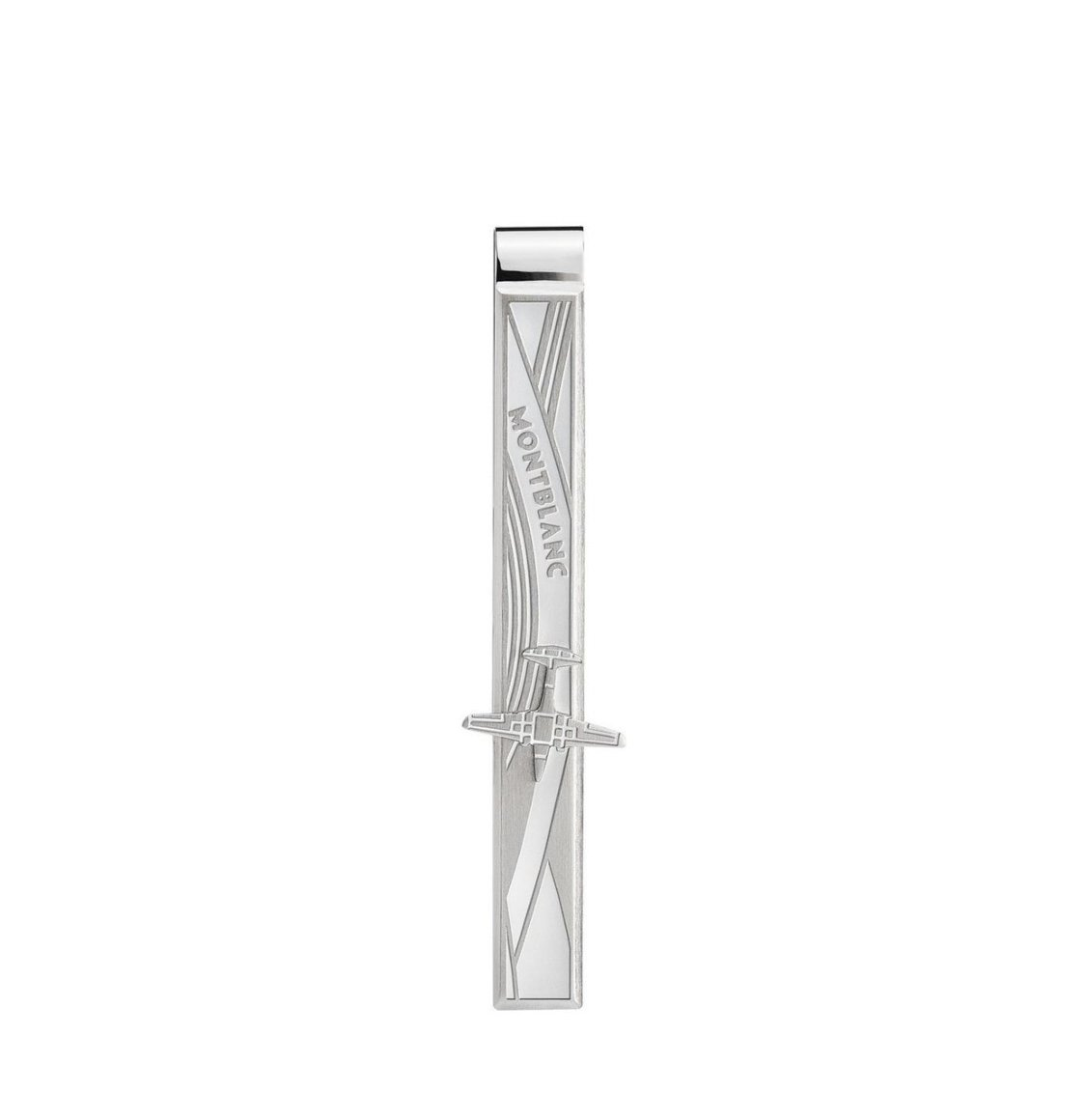 Montblanc Le Petit Prince Tie Bar Mat brushed polished Silver Stainless steel