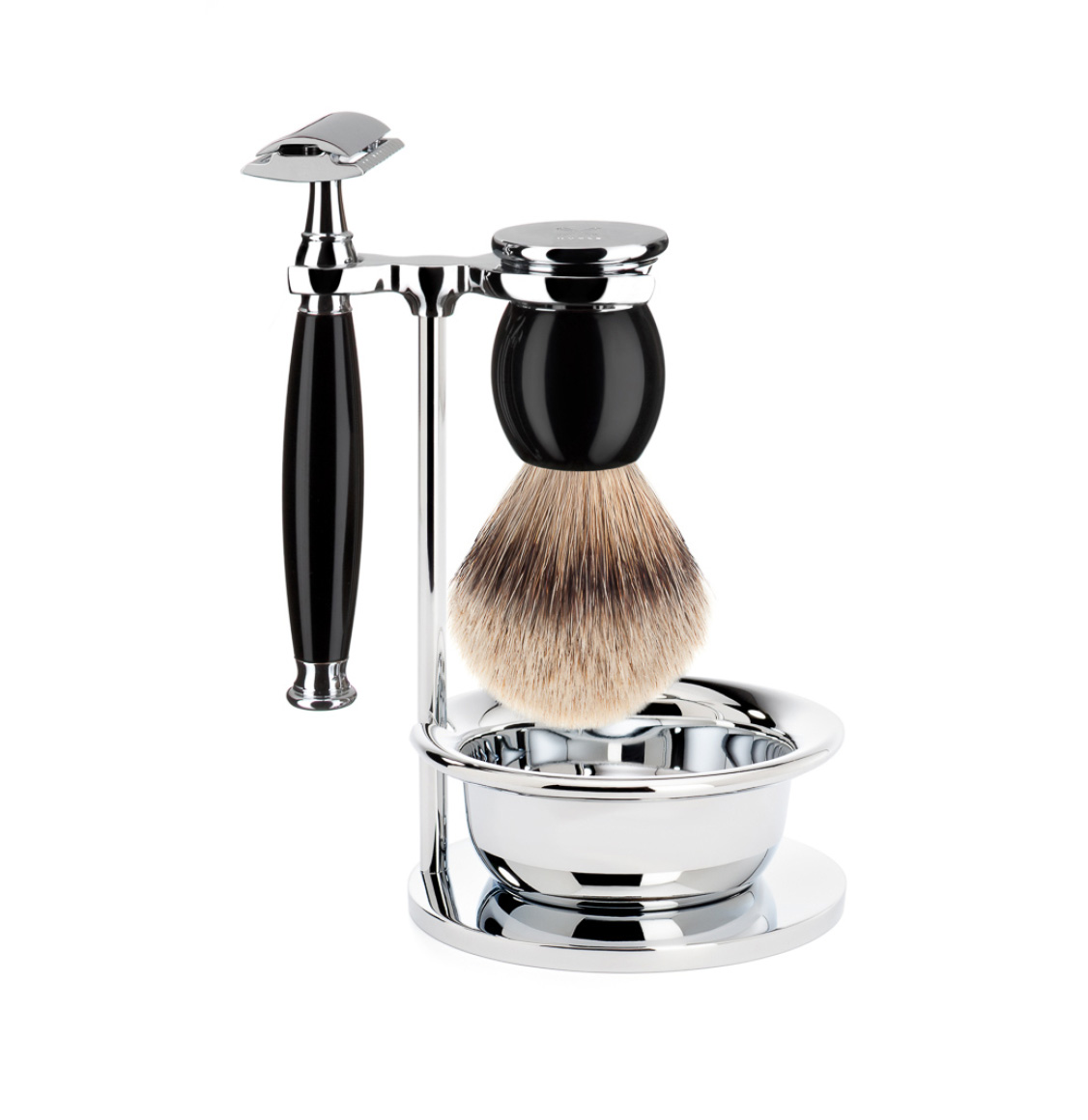 Muhle Sophist Shaving Set Silvertip Badger Brush With Safety Razor and Bowl