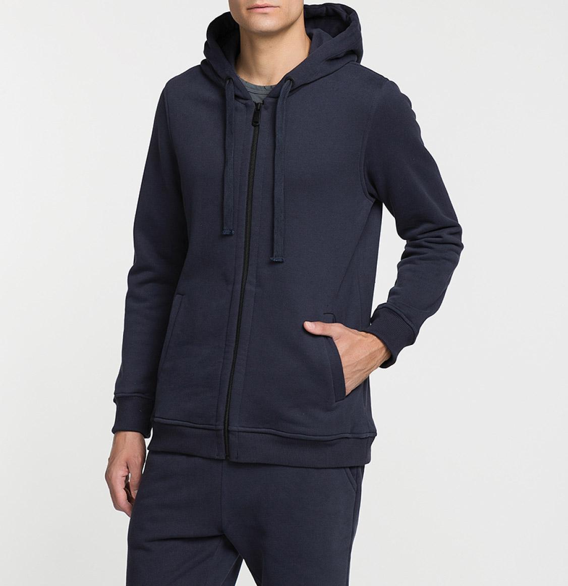 Organic Cotton Zip Up Hoodie Navy Blue