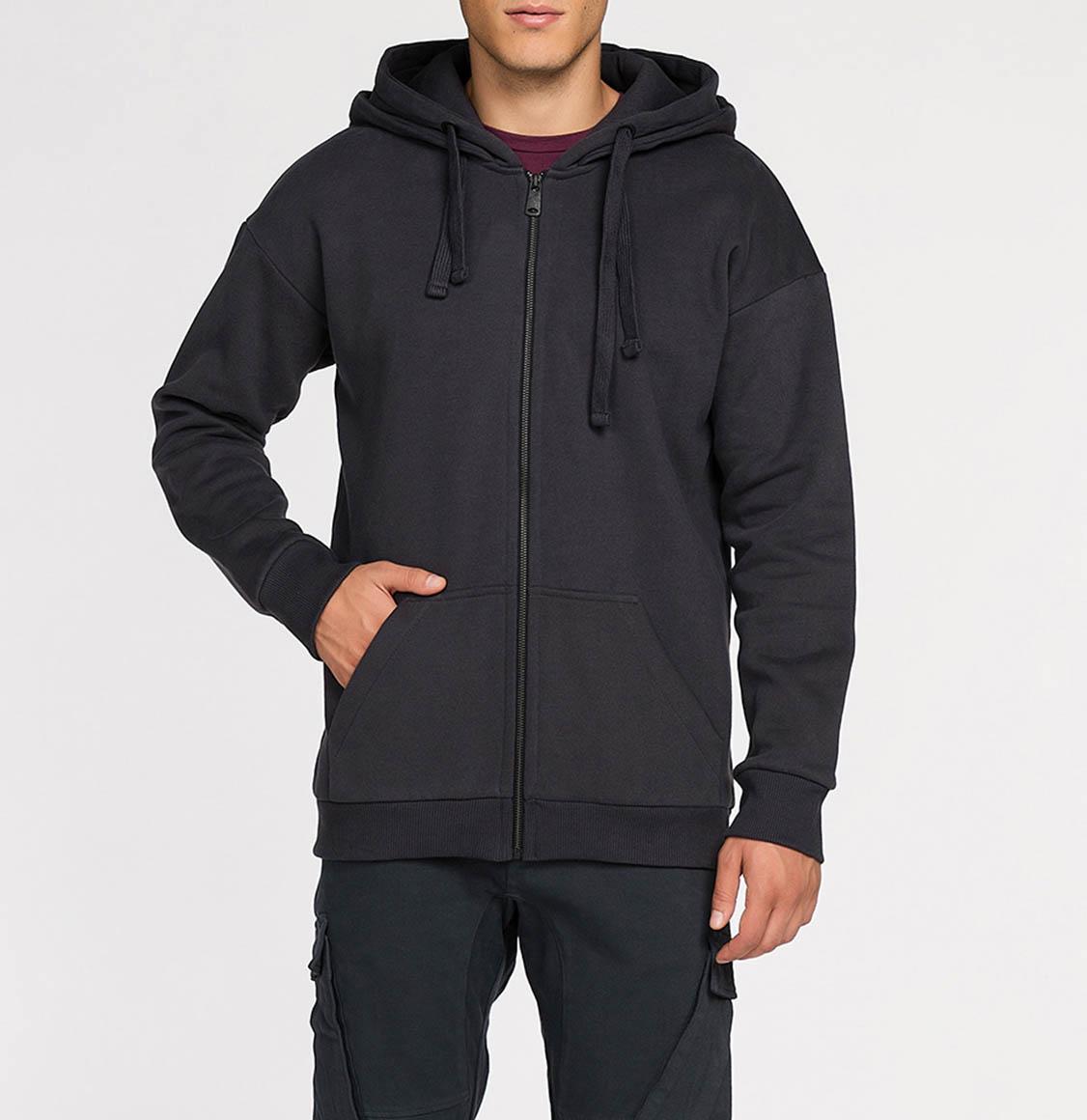 Organic Cotton Double Hooded Zip Up Charcoal Grey