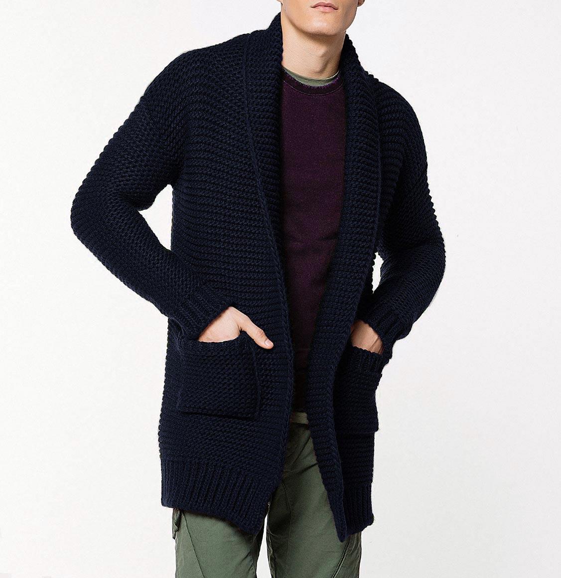 Oversized Shawl Collar Wool Blend Cardigan Navy Blue