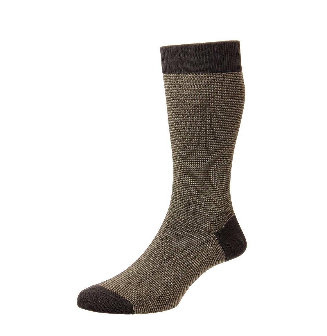 Pantherella Socks Tewkesbury Birdseye Dark Brown