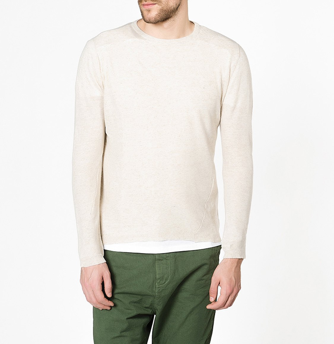 Linen Blend Crew Neck Knitted Sweater Beige