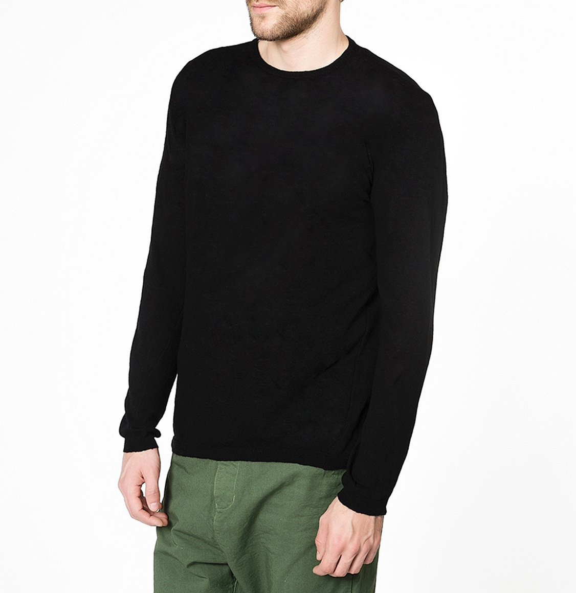 Linen Blend Crew Neck Knitted Sweater Black