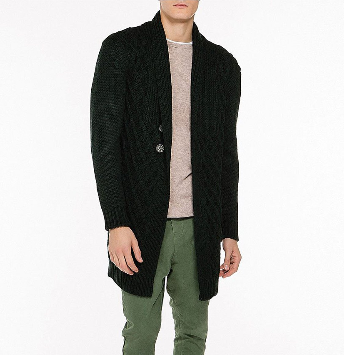 Two Button Shawl Collar Wool Blend Cardigan Forest Green