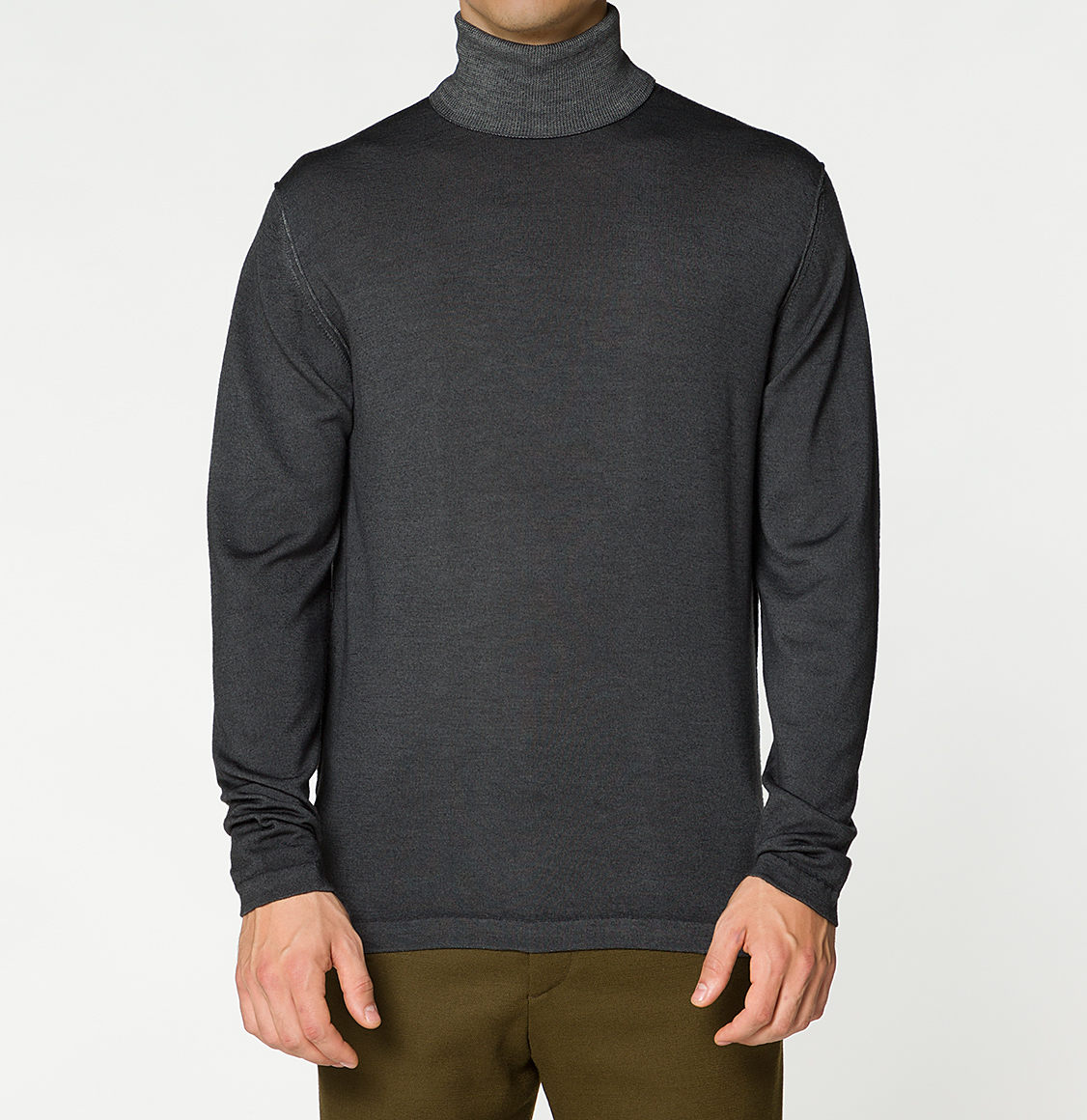 Wool Rollneck Sweater Oil Wash Grey