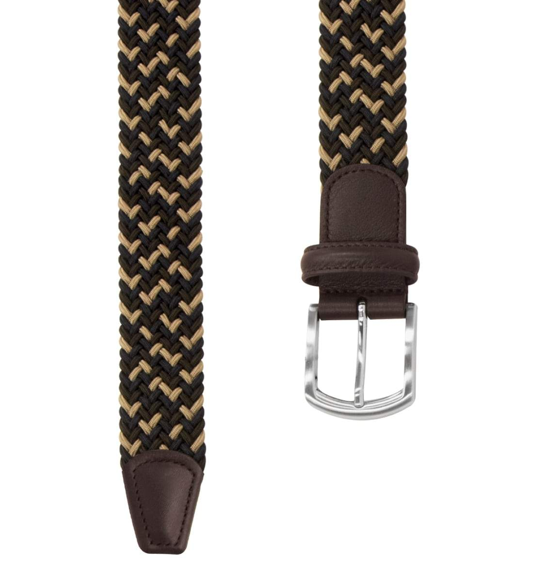 Anderson's Leather-Trimmed Multi Woven Belt Brown and Blue