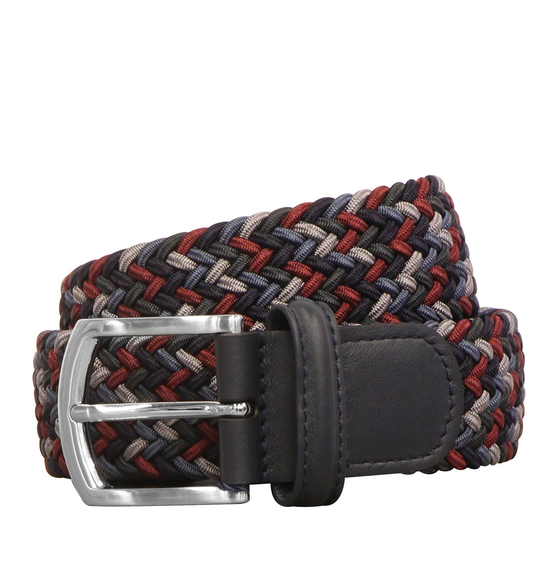 Anderson's Leather-Trimmed Multi Woven Belt Burgundy and Navy