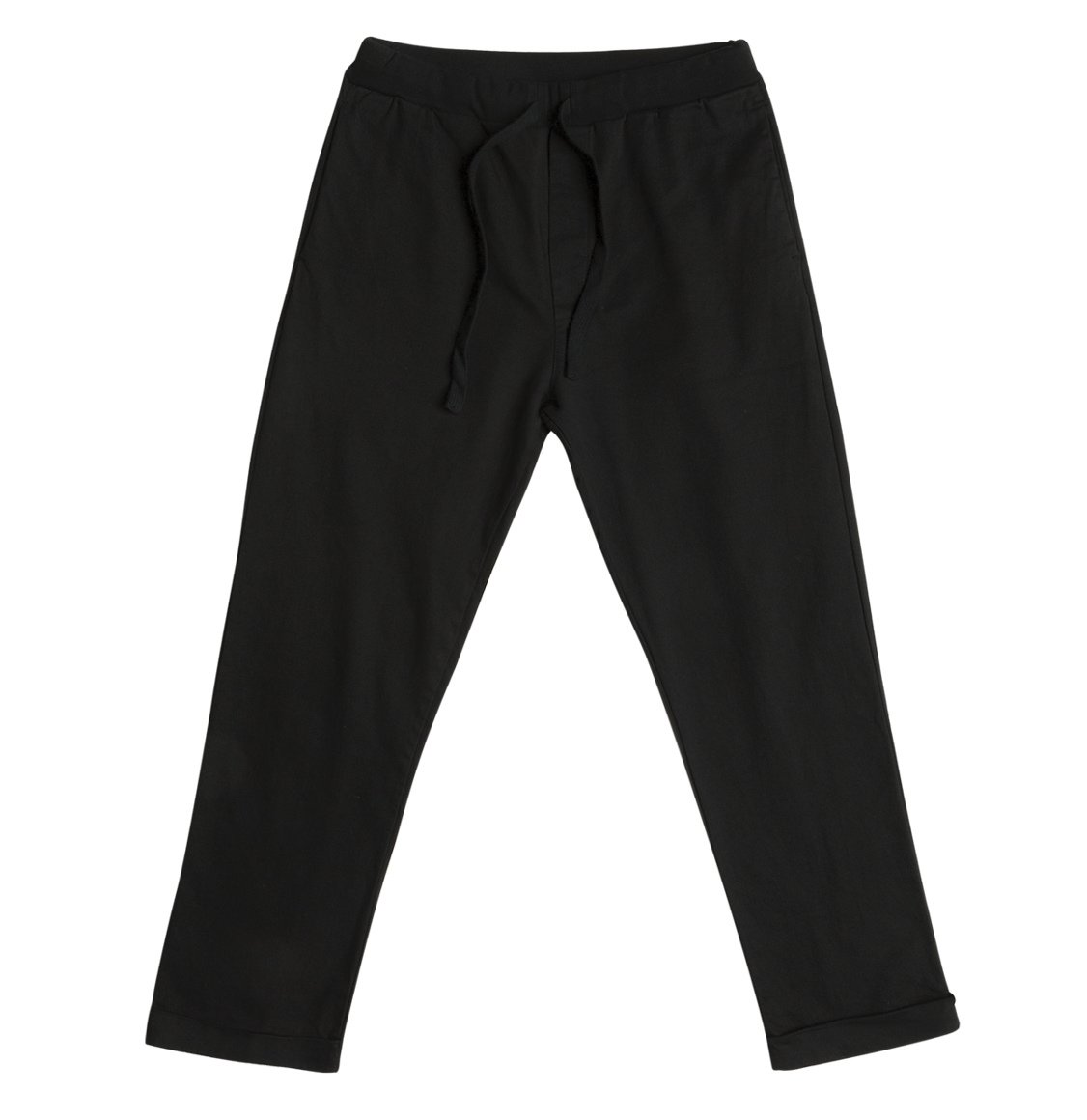 Stretch-Cotton Slim-Fit Drawstring Trousers Black