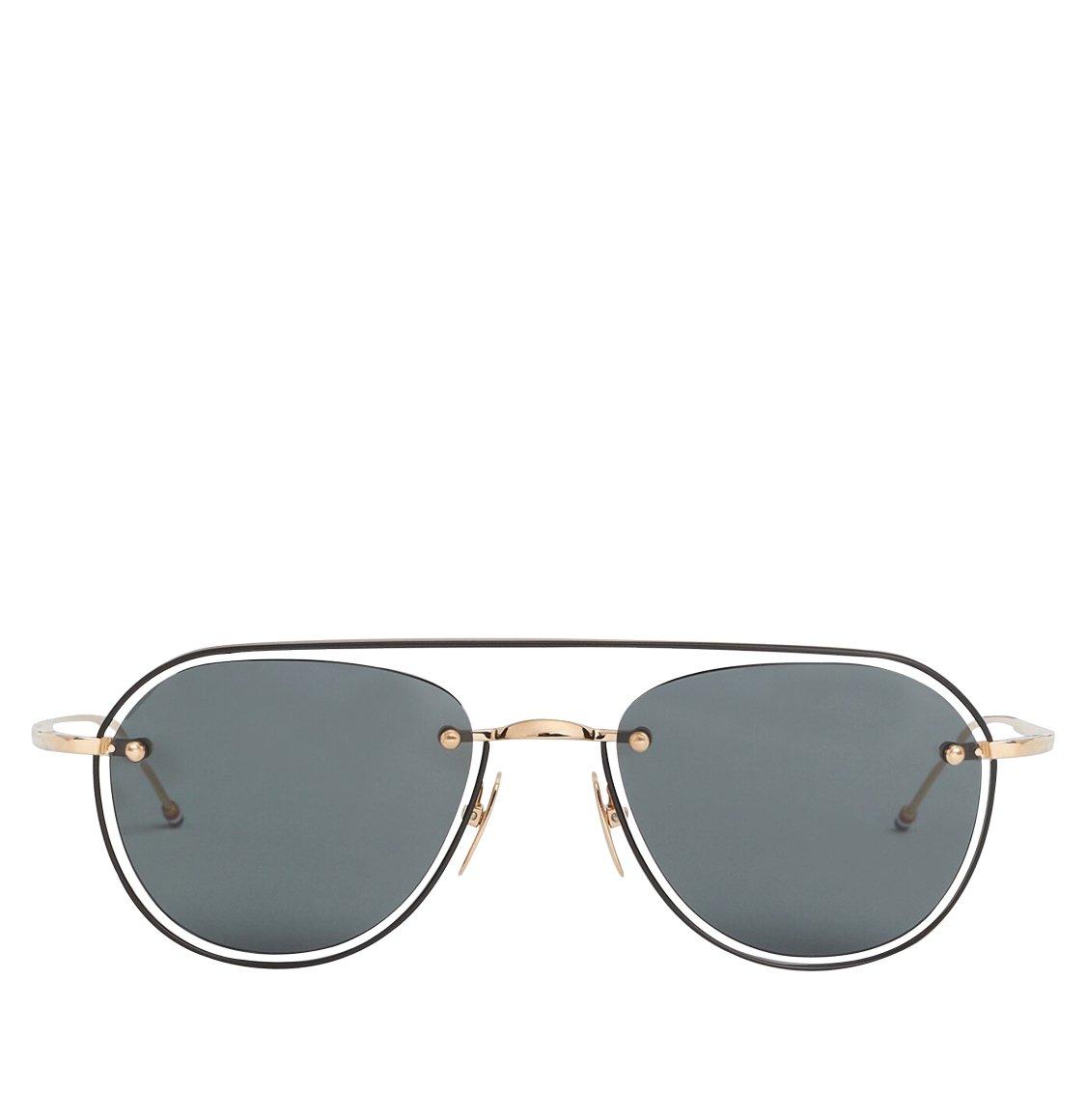 Thom Browne 59 White Gold And Black Enamel Aviator Sunglasses Γυαλιά Ηλίου