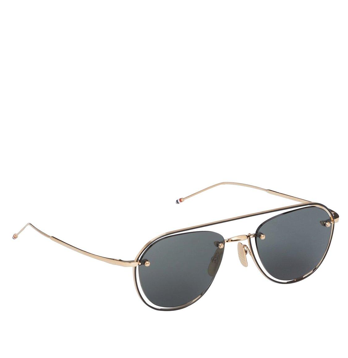 Thom Browne White Gold And Black Enamel Aviator Sunglasses Γυαλιά Ηλίου