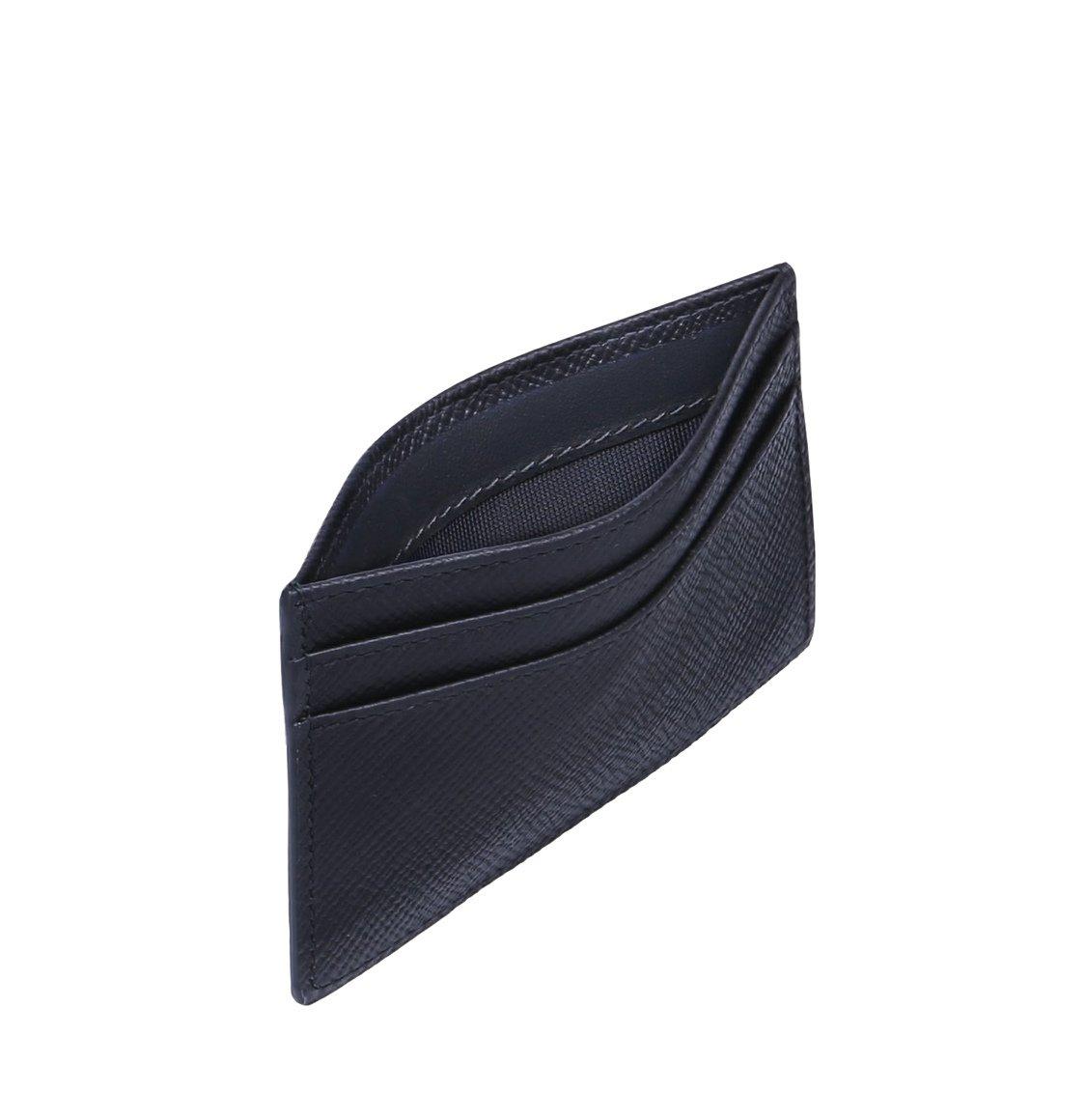 Smythson Panama Cross-Grain Leather Card Holder Navy