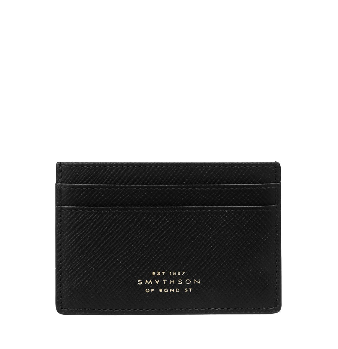 Smythson Panama Cross-Grain Leather Card Holder Black