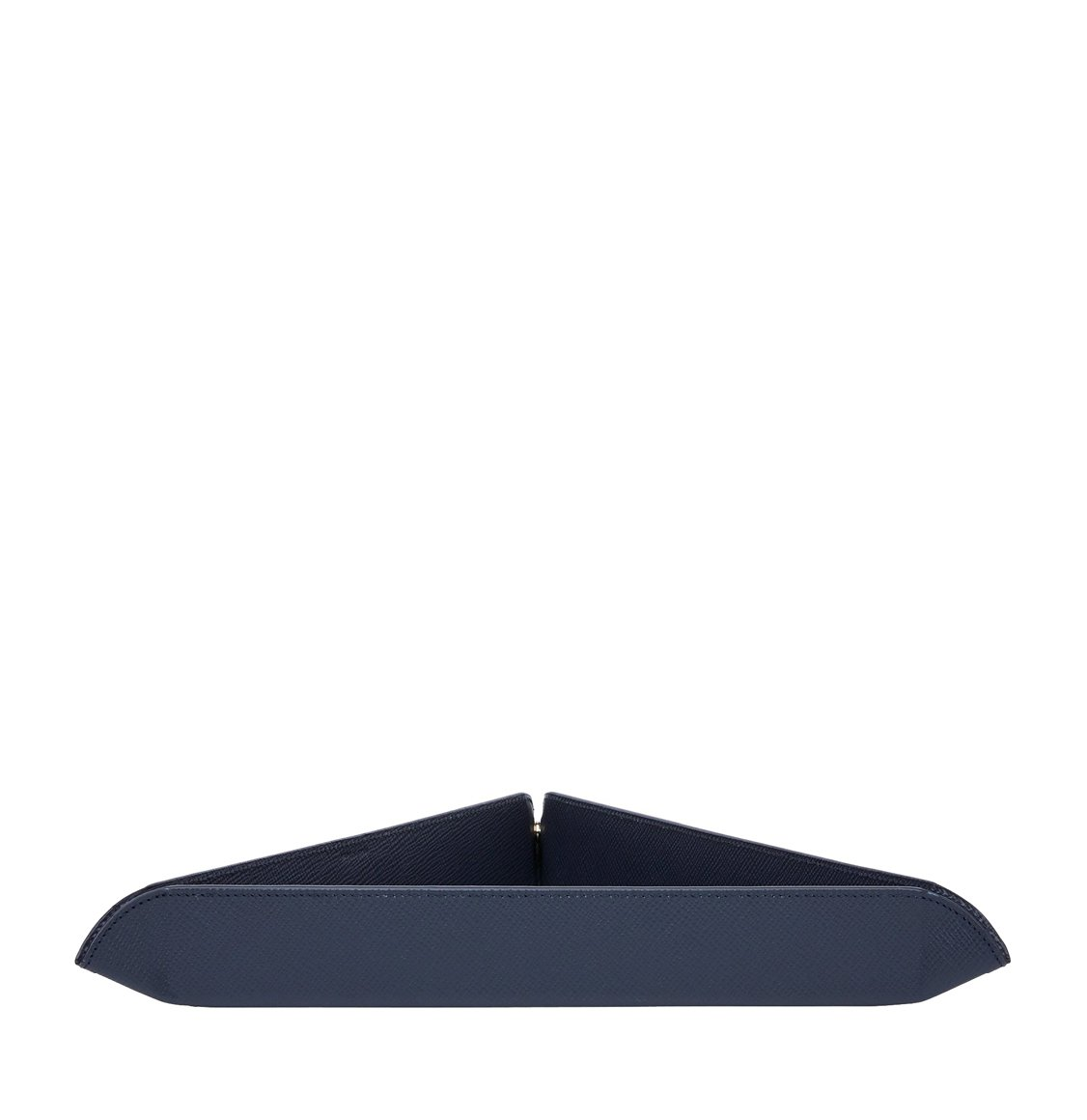 Smythson Panama Cross-Grain Leather Triangle Trinket Tray Navy