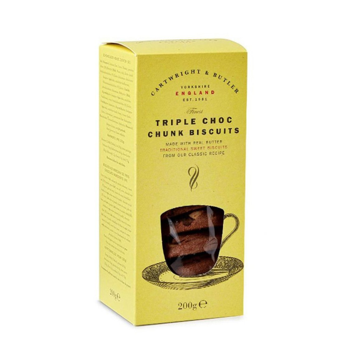 Cartwright and Butler Triple Choc Chunk Biscuits in Carton 200g