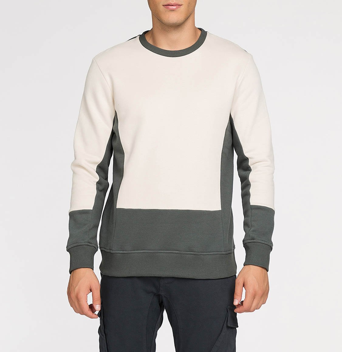The Project Garments Horizontal Color Block Crew Neck Sweatshirt Cream