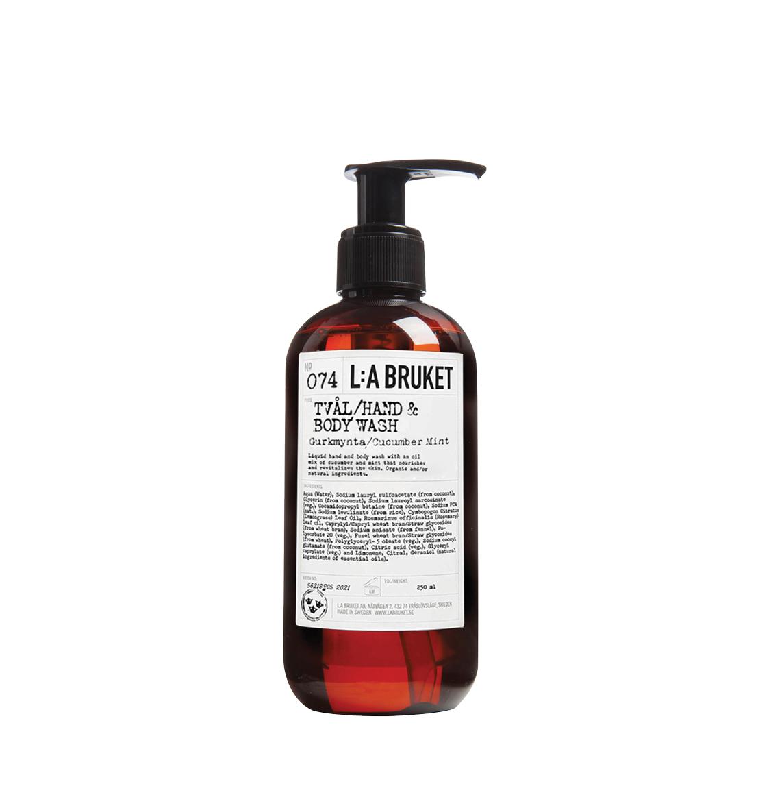 LA Bruket 074 Hand and Body Wash Cucumber and Mint 240ml