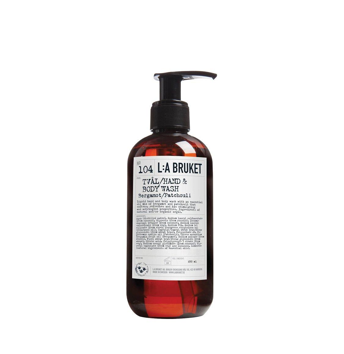 LA Bruket 104 Hand and Body Wash Bergamot and Patchouli 240ml