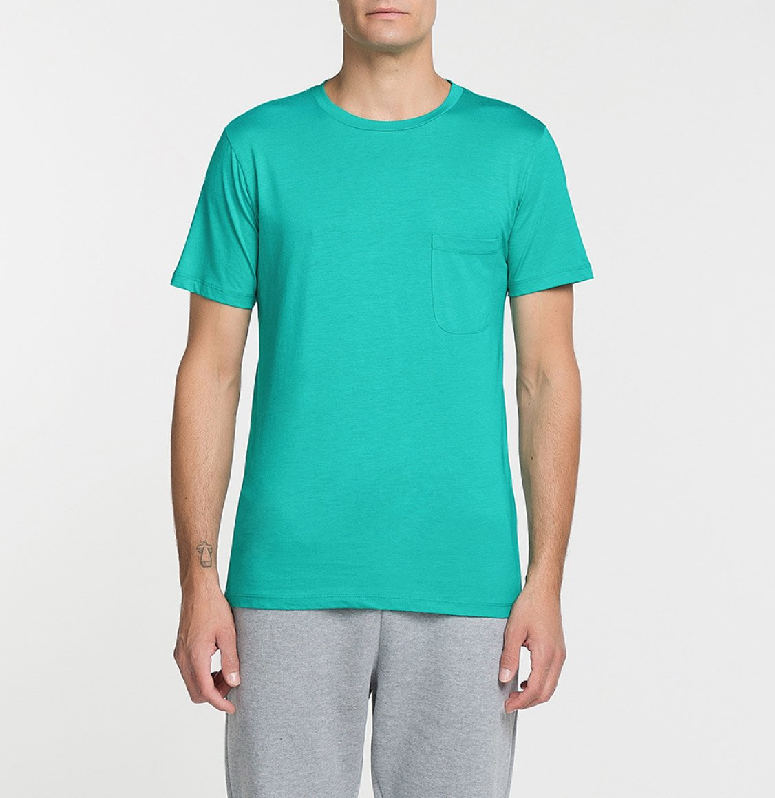 The Project Garments Crew Neck Modal-Blend Pocket T-shirt Cyan