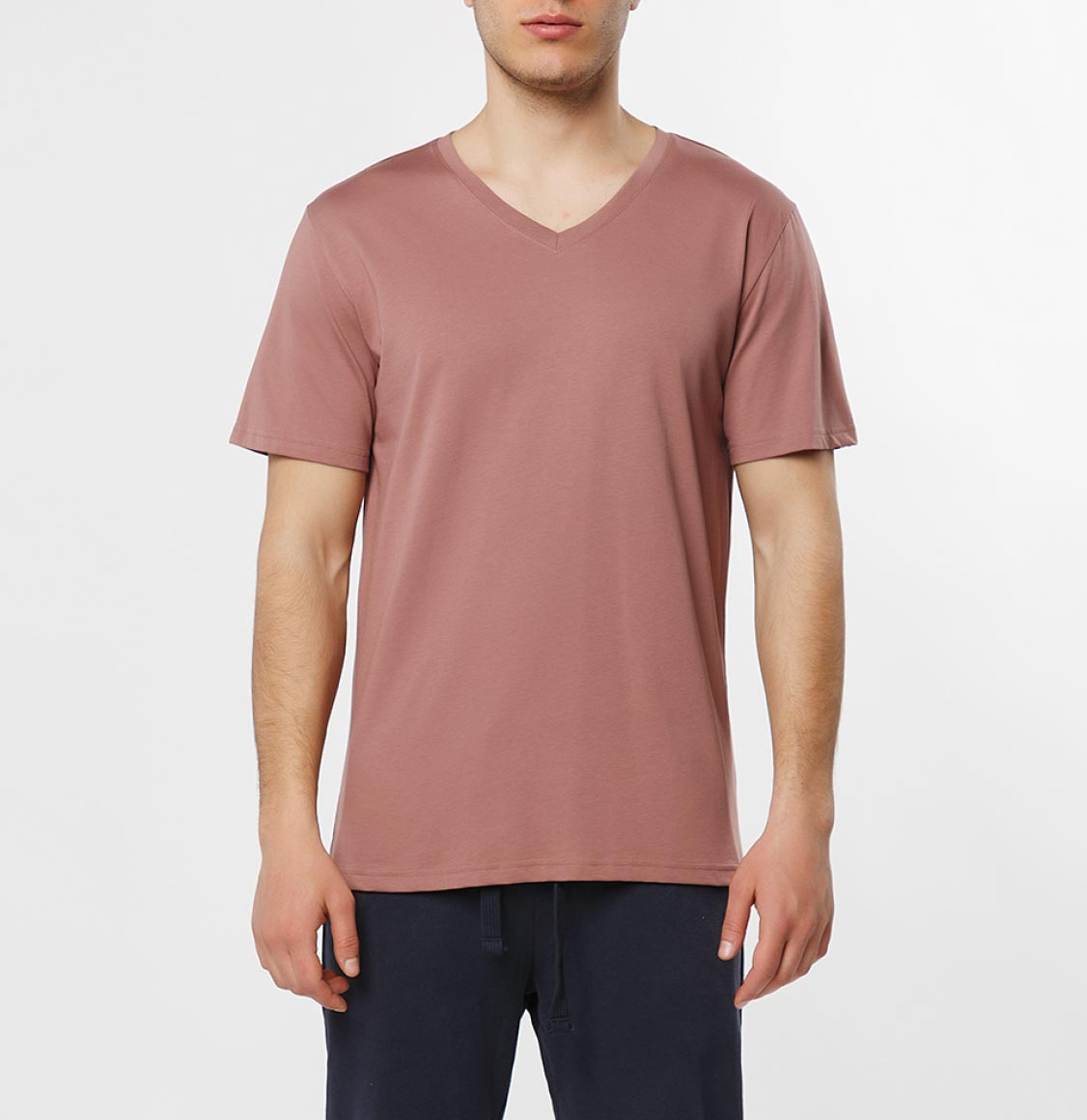 The Project Garments Organic Cotton V-neck T-shirt Rosewood