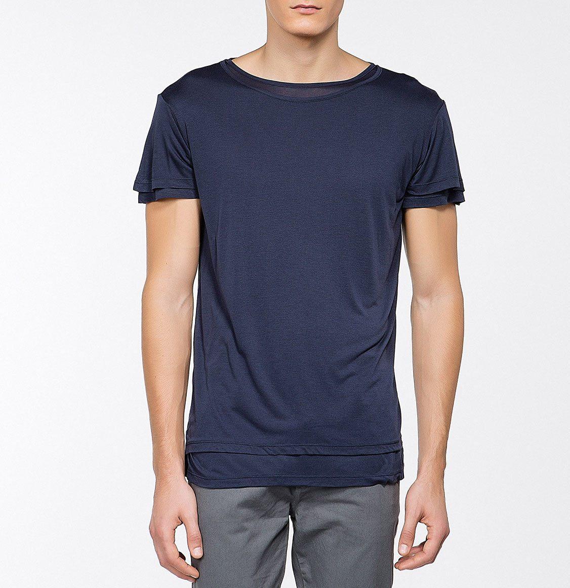 The Project Garments Silk Blend Double Crew Neck T-Shirt Navy Blue