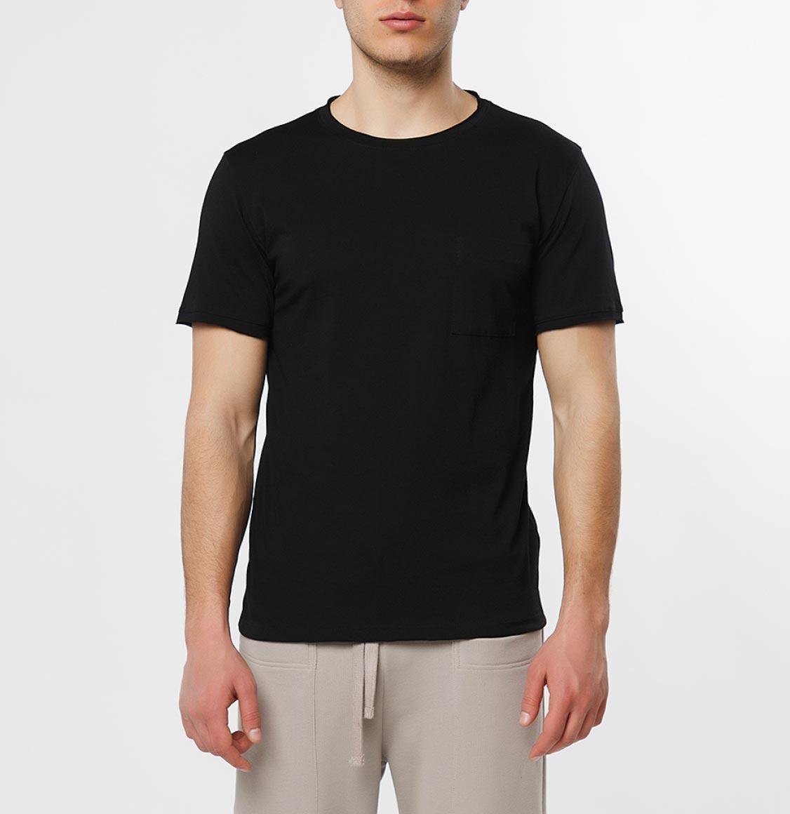 The Project Garments Slim Fit Pocket Crew Neck T-Shirt Black