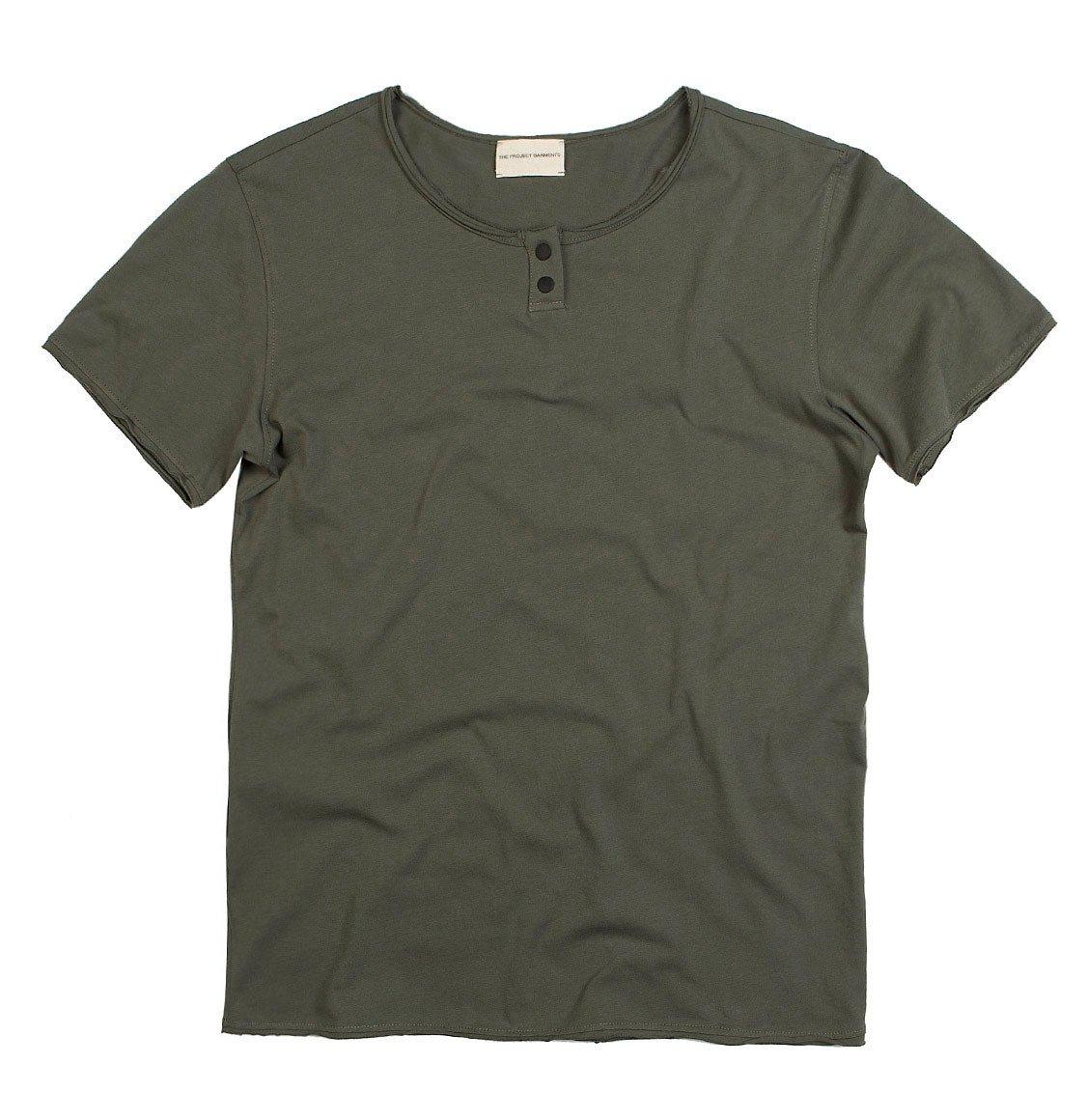 The Project Garments Henley Organic Cotton T-Shirt Khaki