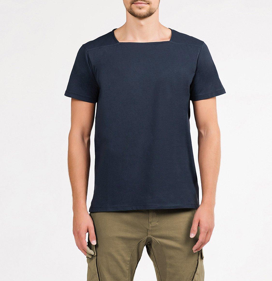 The Project Garments Silk Blend Box Neck T-shirt Midnight Blue