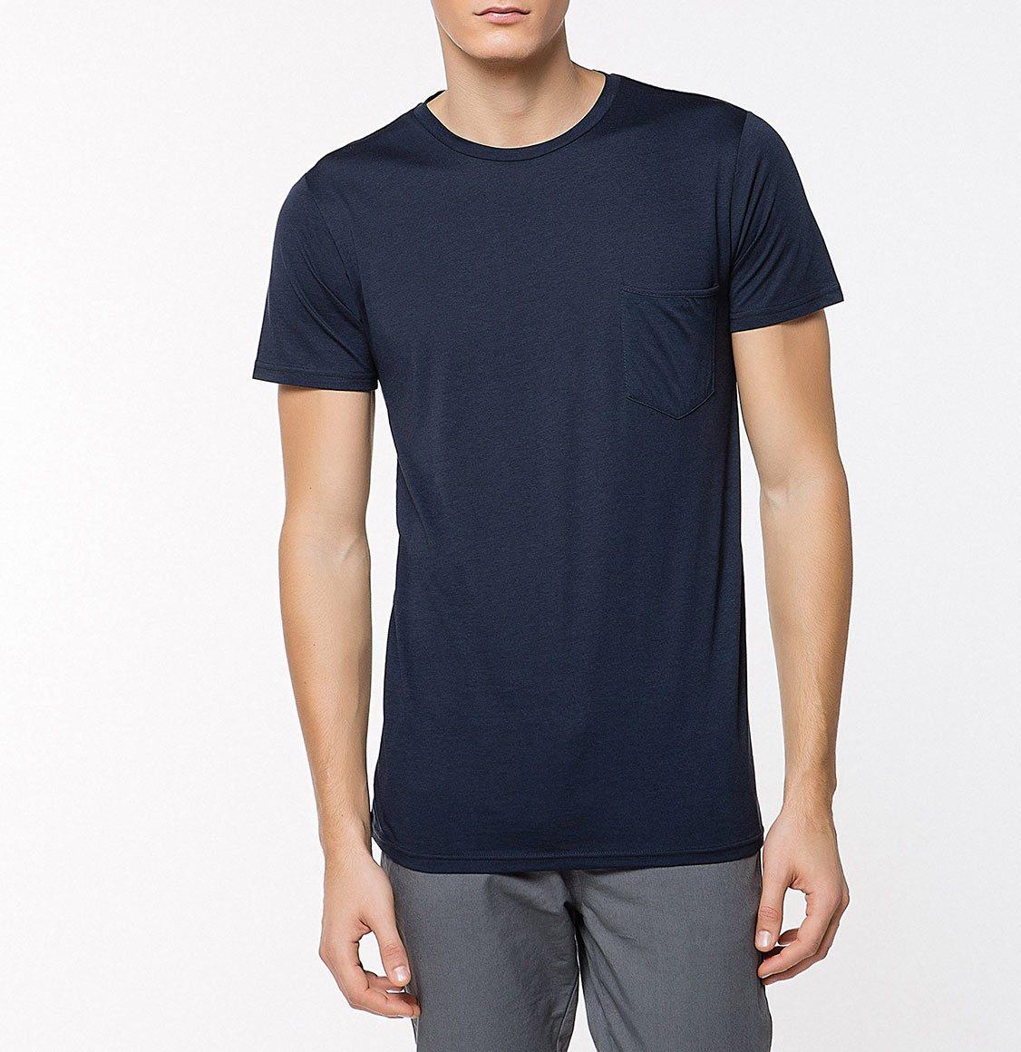The Project Garments Crew Neck Modal-Blend Pocket T-Shirt Navy Blue