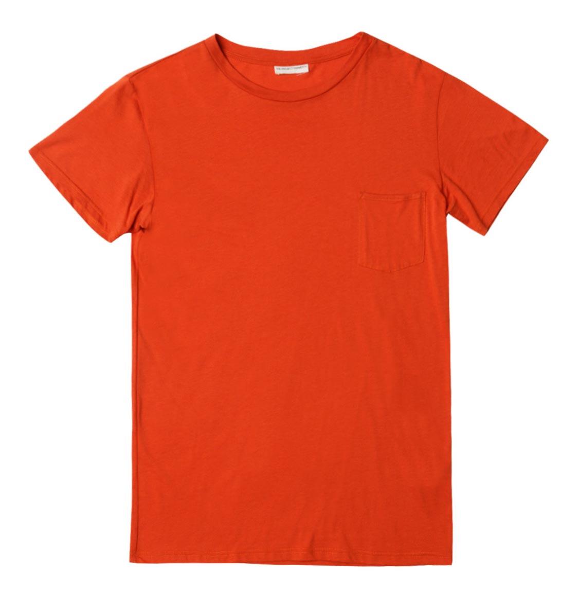 The Project Garments Crew Neck Modal-Blend Pocket T-shirt Orange