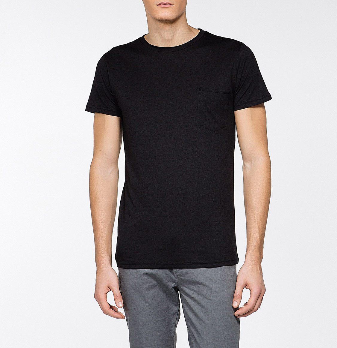 The Project Garments Crew Neck Modal-Blend Pocket T-shirt Black