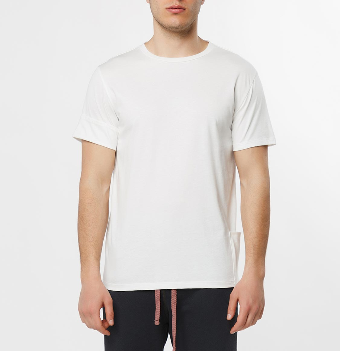 The Project Garments Roll Sleeve Crew Neck T-Shirt Cream