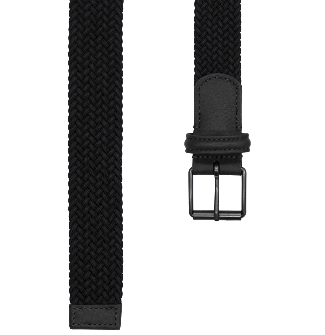 Anderson's Leather-Trimmed Woven Belt Navy Blue
