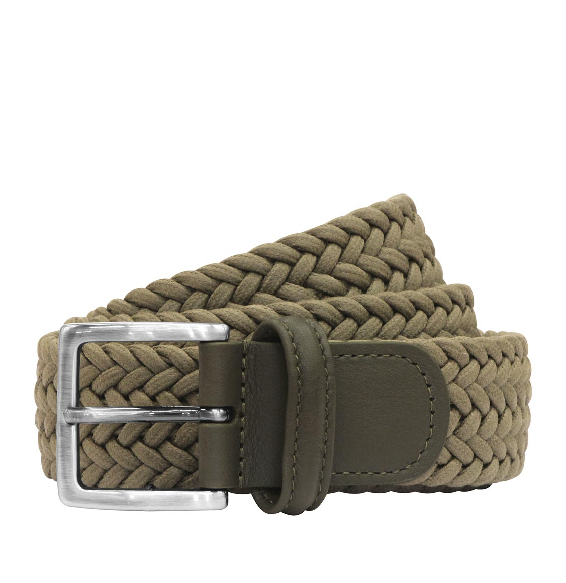 Anderson's Waxed Leather-Trimmed Woven Belt Green