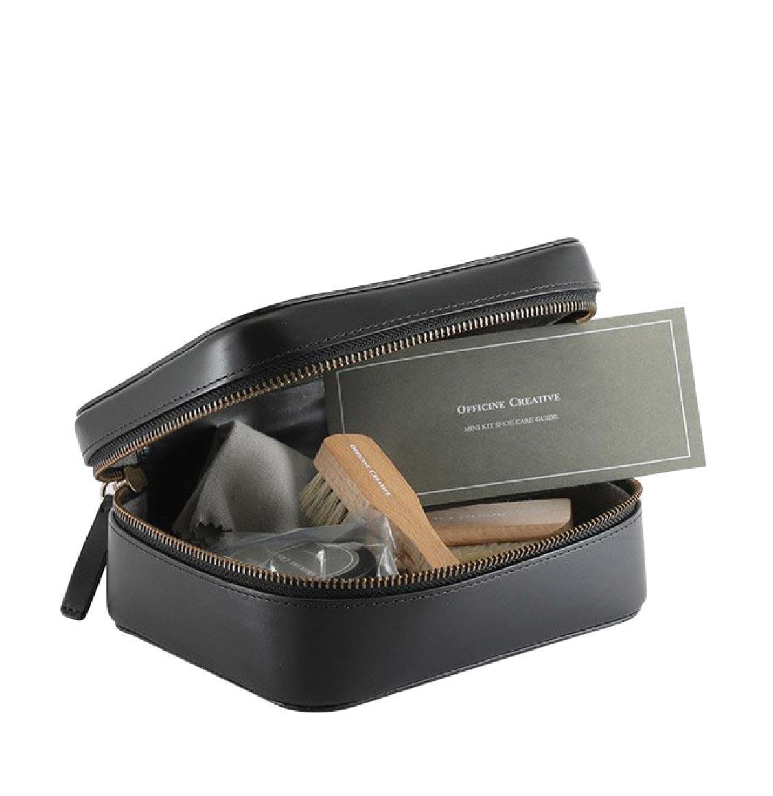 Officine Creative Shoecare Travel Kit Black Fine Shoe Cream 65g | Shoe Fibre | Two High-Quality Shoe Brushes | Black Leather Shoehorn